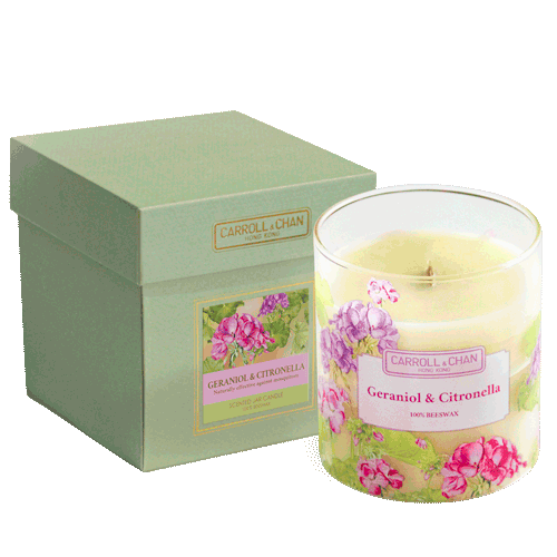 geranoil and citronella beeswax candle