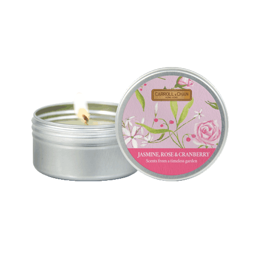 Jasmine, Rose, cranberry Mini tin candle
