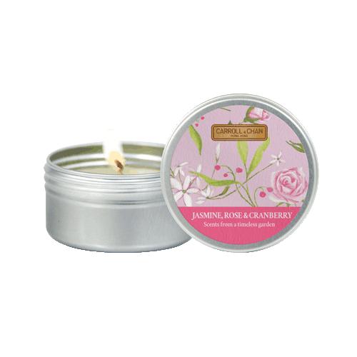 Jasmine, Rose, cranberry Mini tin candle