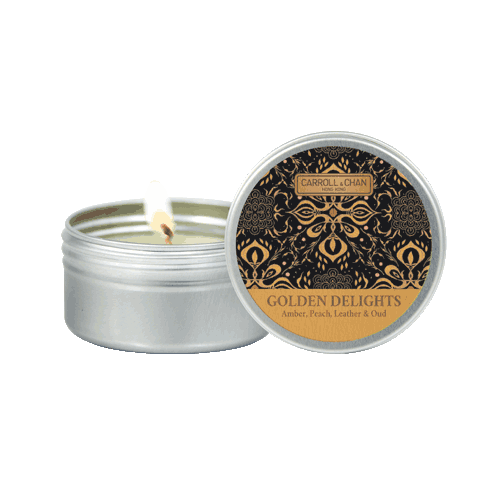 Golden Delights mini tin candle